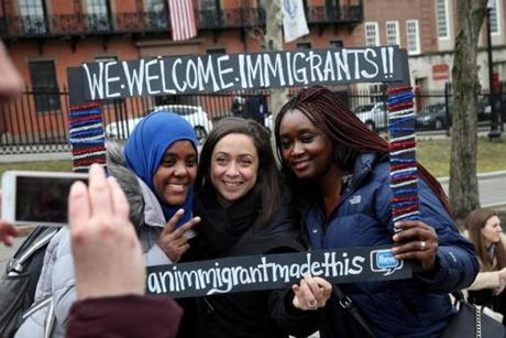 Birchat Kedir of Ethiopia, Olivia Meyerhoffer of France, and Mariama Cire Sylla of Guinea (from left) at the rally.
